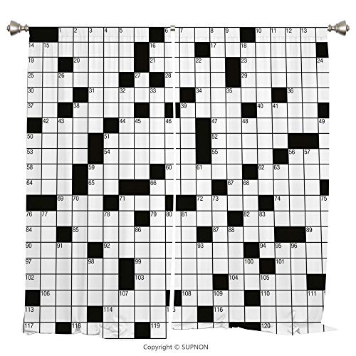 Rod Pocket Curtain Panel Thermal Insulated Blackout Curtains for Bedroom Living Room Dorm Kitchen Cafe/2 Curtain Panels/120 x 66 Inch/Word Search Puzzle,Classical Crossword Puzzle with Black and White ()