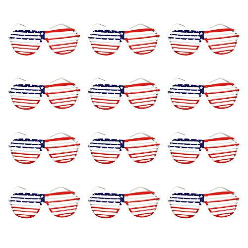 (12 Pack) Patriotic Slotted Glasses USA Patriotic Theme for July 4 Party Favors