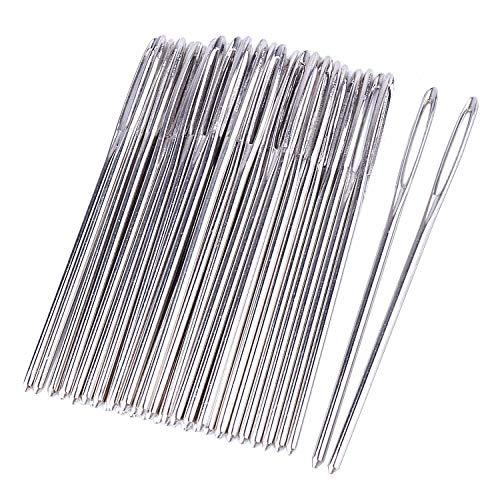 Metal Needles - Bonayuanda 50pcs 2.7 inch Metal Large Eye Blunt Needles Yarn Needles for Knitting Crochet Projects