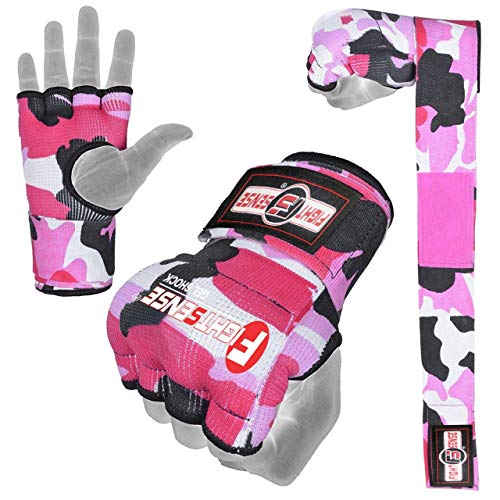 FIGHTSENSE Padded Gel Inner Gloves with Long Wraps for Boxing MMA Wrist Hand Wraps Muay Thai Under Gloves Training Pair (Camo Pink, Medium)