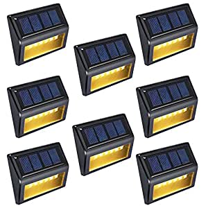 Wireless Waterproof Solar Lights - OKEER New Upgrade 6 LED Outdoor Sensor Lights For Yard Garden Stairs Park Fence With Auto On/Off(Pack 8Warm Yellow Light)