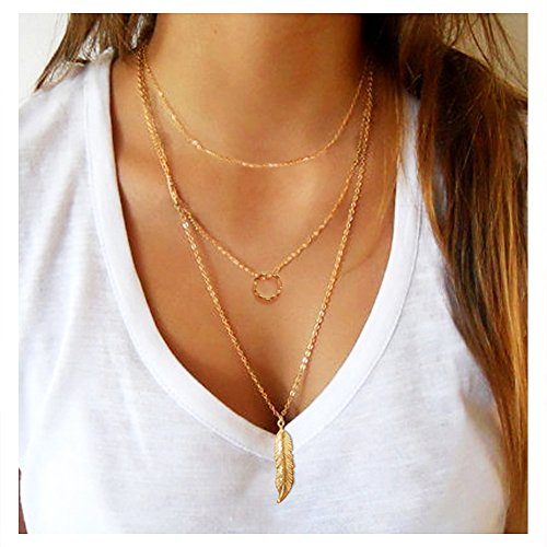 Wowanoo Simple Multilayer Pendant Necklace Boho Feather Chain Necklace Jewelry for Women 3G