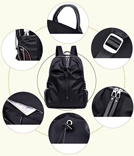 Versión coreana de la bolsa de hombro de las mujeres de nylon, mochila de lona luz, bolso de tela de Oxford, bolso de mamá simple ( Color : Purple , Tamaño : 30*15*44cm ) Negro