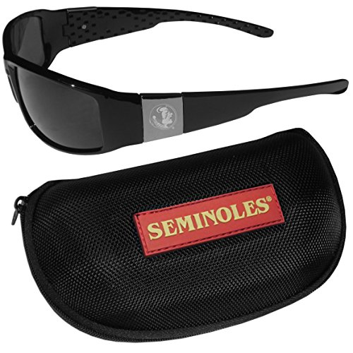 NCAA Florida State Seminoles Chrome Wrap Sunglasses & Zippered Carrying - Sunglasses Fsu