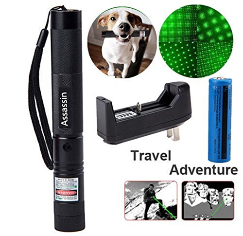 Laser Powered (Rechargerable Portable Ultra Bright Bright Tactical G-r-e-e-n L-a-s-e-r Pen, Handheld LED Flashlight with Adjustable Focus, Outdoor Water Resistant Torch, Powered Tactical Flashlight for Camping Hikin)