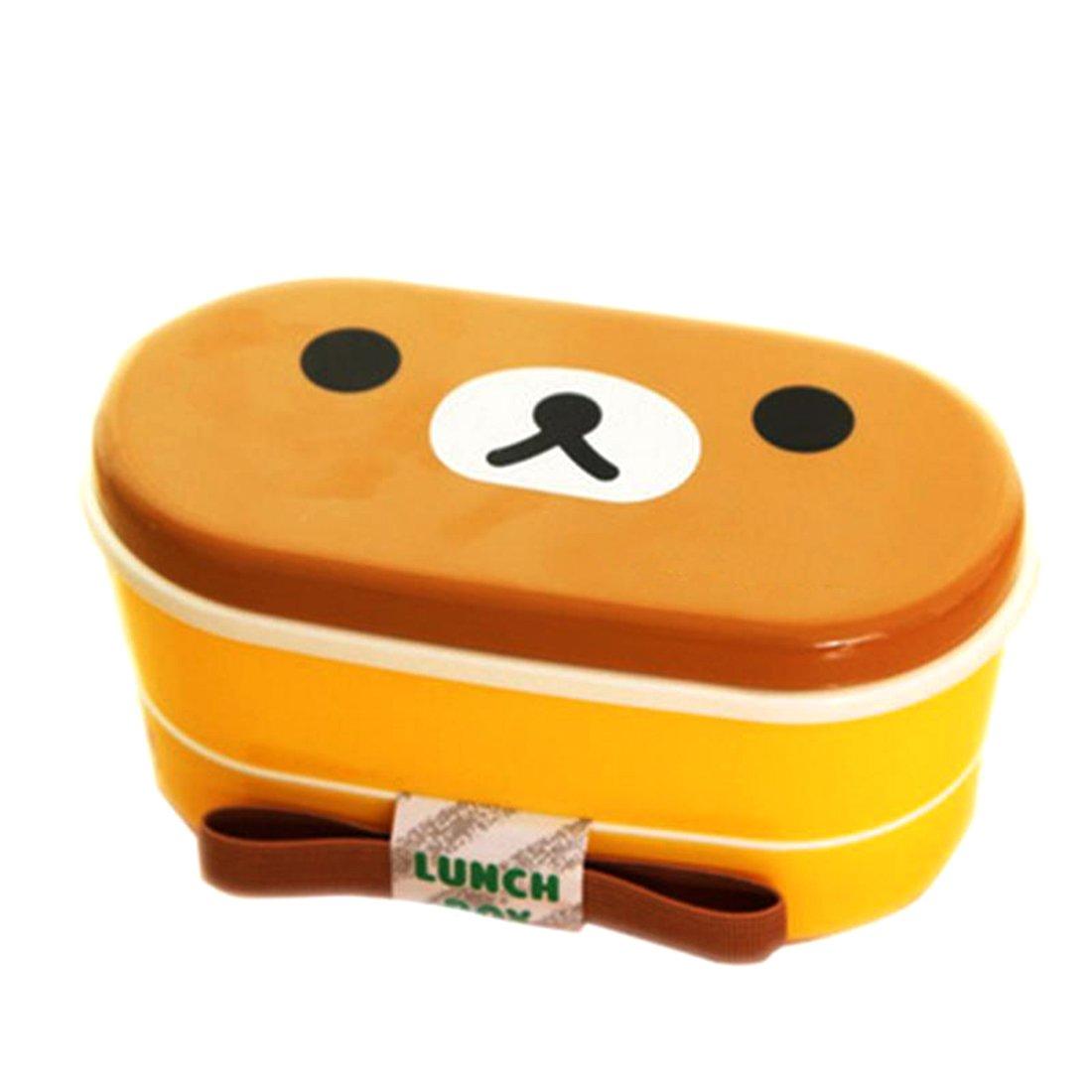 2capa dibujos animados fiambrera Bento caja de almuerzo envase de alimento con palillos japonés estilo Luwu-Store