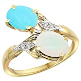 10K Yellow Gold Turquoise & Opal 2-stone Mother's Ring Oval 8x6mm Diamond Accents, 3/4 inch wide, size 8
