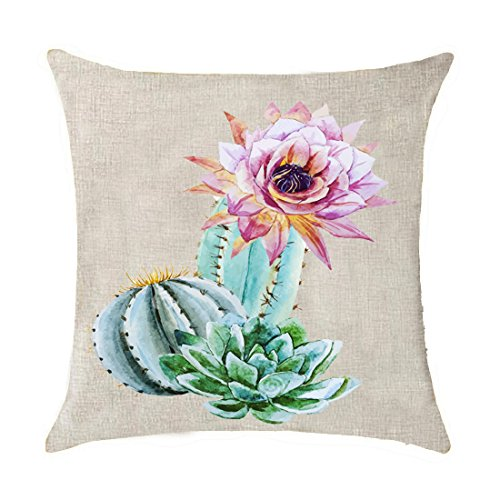 Bnitoam Art potted succulents Cactus flowers Mexican national flower Cotton Linen Throw Pillow covers Case Cushion Cover Sofa Decorative Square 18 inch (12)