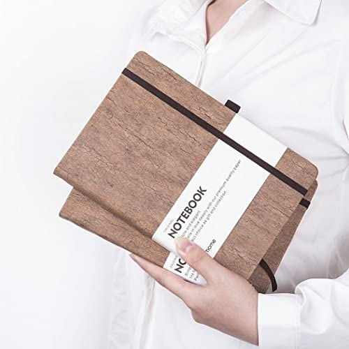 Dotted Bullet Journal/Notizbuch Dotted - Umweltfreundliches Naturkork Hardcover Dot Grid Notebook mit Stiftschlaufe - Premium Dickes Papier, Bound Dotted Notebook - A5 (5x8In)
