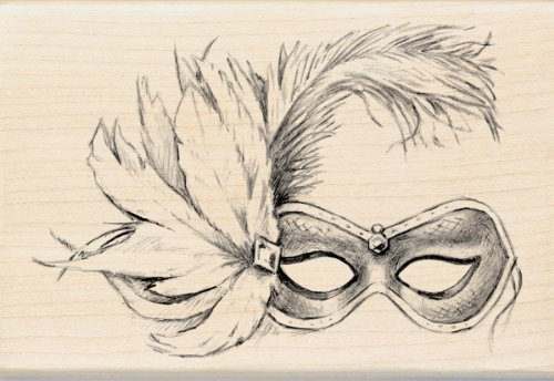 EK Success Inkadinkado Wood Stamp, Feathered Mask