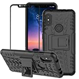 BestAlice for Xiaomi Redmi Note 6 Pro/Redmi Note 6 Case, Hybrid Heavy Duty Protection Shockproof Slim Fit Kickstand Cover with Tempered Glass Screen Protector, Black