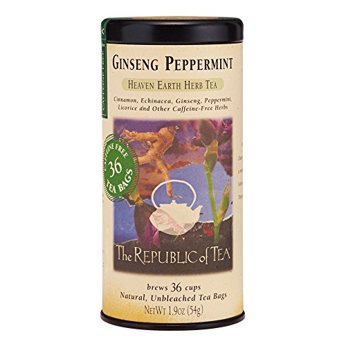 The Republic Of Tea Ginseng Peppermint Herbal Tea, 36 Tea Bag Tin