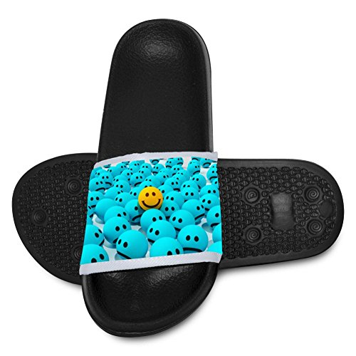 AolaZW Kids' Smiles Joy Sadness Beach Sandal Non-Slip Bath Slipper Black 4 B(M) US Big kid