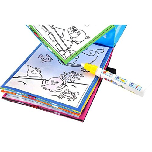 Price comparison product image Fiaya Magic Water Doodle Magic Pen Drawing Book Coloring Book Animals Painting (A)