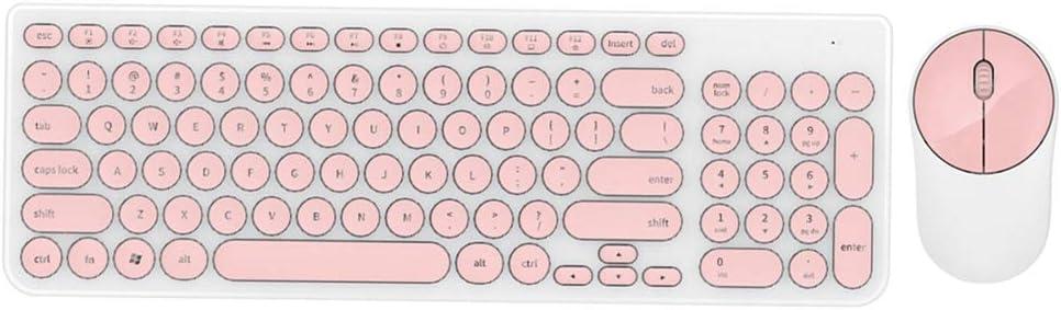 Kafuty Combinación de Teclado y Mouse Inalámbricos Teclado Redondo Punk 2.4GHZ Teclado Inalámbrico Ratón Óptico Mute Ahorro de Energía 36 Meses Tiempo en Espera(Rosa Blanca)
