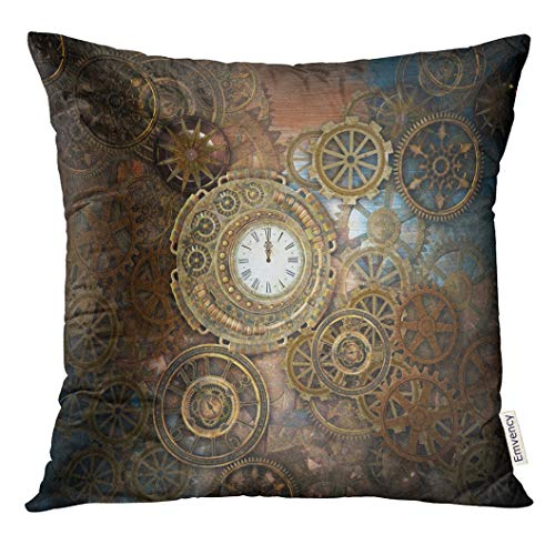 - Emvency Throw Pillow Cover Blue Beauty Rusty Steampunk with Clock and Different Kinds of Gears 3D Bronze Decorative Pillow Case Home Decor Square 18x18 Inches Pillowcase