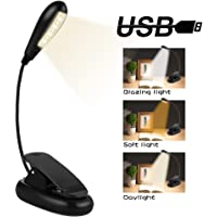 Nasharia 7 LED Portable Lampe de Lecture, 3 Modes de Luminosité et Rechargeable Flexible Câble USB pour Lecture de Nuit,Kindle,Chambre à coucher,Bureau,Travail,Voyage etc.(Classe énergétique A+)