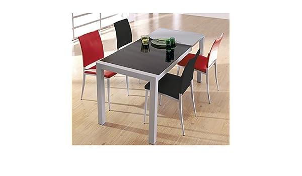 SHIITO Mesa de Cocina Extensible de Carro 122 x 70 cm en Aluminio y Tapa en Cristal: Amazon.es: Hogar