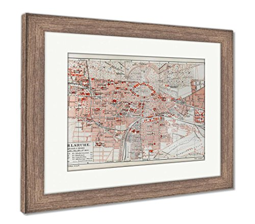 Ashley Framed Prints Vintage Map of Karlsruhe at The End of 19th Century Picture from Meyers, Wall Art Home Decoration, Color, 30x35 (Frame Size), Rustic Barn Wood Frame, AG6266488