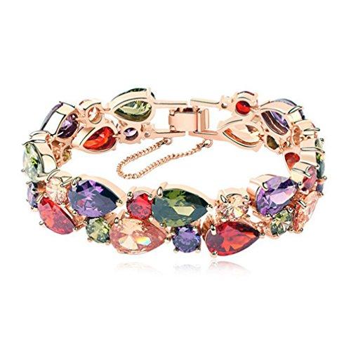 HERMOSA Rose Gold Plated Women Fashion Jewelry Sets Earrings Stud Bracelet (Bracelets) - Multi Gemstone Bracelet Watch