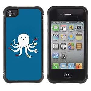 Suave TPU GEL Carcasa Funda Silicona Blando Estuche Caso de protección (para) Apple Iphone 4 / 4S / CECELL Phone case / / Funny Multitasking Octopus Squid /