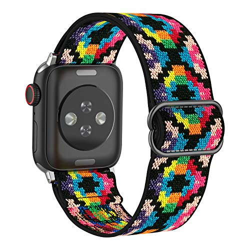 BMBMPT Adjustable Elastic Watch Band Compatible with Apple Watch 38mm 40mm, Stretchy Loop Bracelet Women Men Replacement Wristbands for iWatch Series 6/5/4/3/2/1 SE.