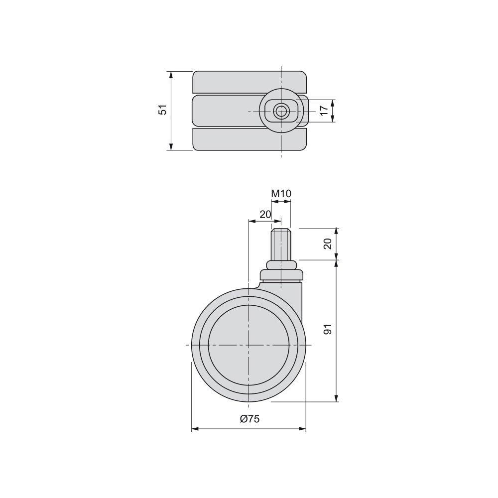 Emuca 2037221 - Lote de 4 ruedas pivotantes grises y negras para mueble (2 con freno y 2 sin freno) diámetro 75mm con placa de montaje y rodamiento de ...