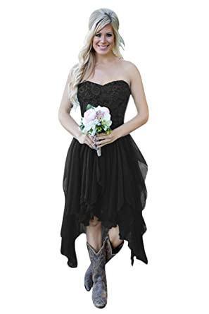 Xjly Country High Low Lace Chiffon Bridesmaid Dresses Party Dress