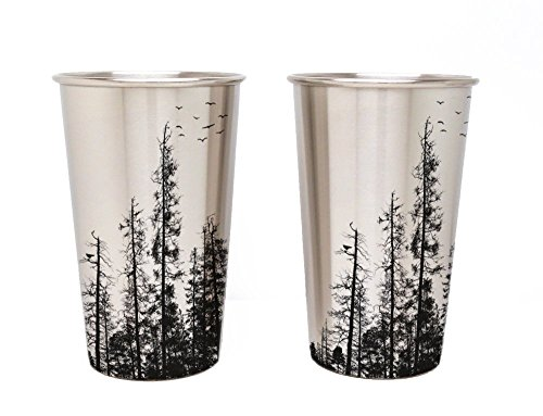 Stainless Steel Pint Glass - Pine Tree Forest - One Stainless Steel Pint Glass Pine Glassware