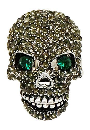 Kik Costume Party (Ring - Black Rhinestone Crystal Encrusted Skull Stretch Ring - Kik's Spook)