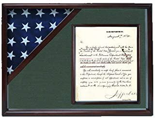 product image for Shadow Box for 3' x 5' Flag with 8.5 x 11 Document Holder, Cherry Finish