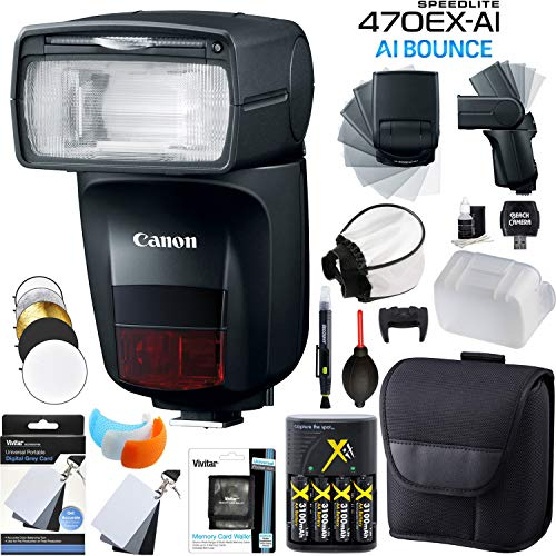 - Canon Speedlite 470EX-AI AI Flash with Artificial Intelligence Bounce with Rechargeable Battery Kit Diffuser Reflector Covers Camera Accessory Bundle