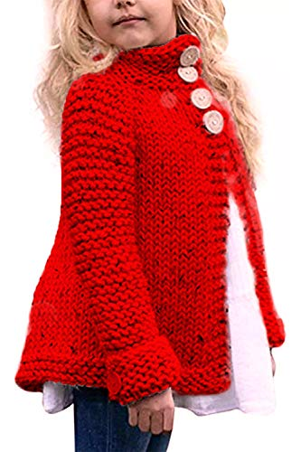 Toddler Baby Girls Autumn Winter Clothes Button Knitted Sweater Cardigan Cloak Warm Thick Coat (Red, 5-6 Years) (Girls Red Sweaters)