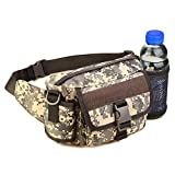 Detachable Outdoor Camping Hiking Belt Bag Camouflage Waist Pack Phone Pocket Bag With Bottle Holder Portable Travel Nylon Bags ACU Camo