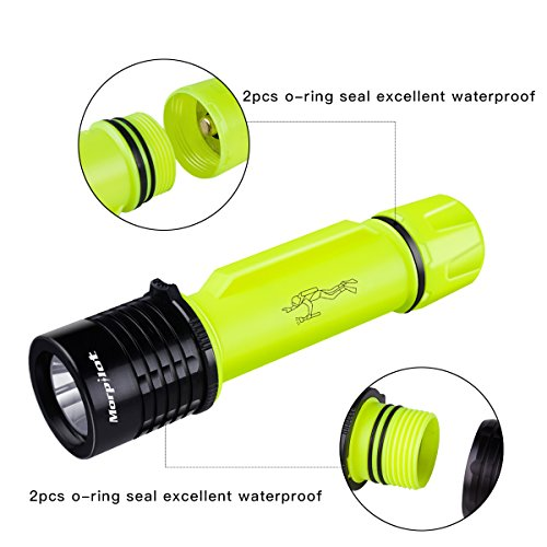 Morpilot Diving Torch Light Underwater 25 meters, 500LM Super Bright LED Submarine Waterproof IPX7 Dive Flashlight for Outdoor Under Water Sports, Emergency, Hurricane, Outage, Storm