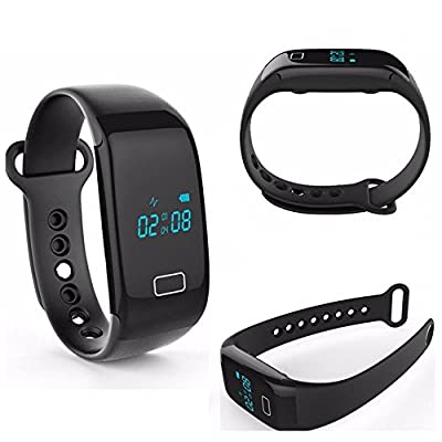 Eyoyo Fitness Tracker with Heart Rate Monitor Waterproof Touch Screen Smart Watch Healthy Wristband For Android IOS (Black)