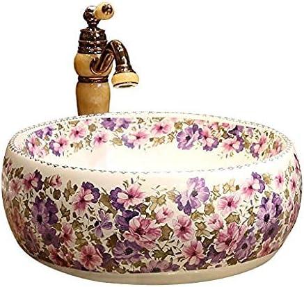 カウンターヨーロッパセラミック洗面台ラウンド盆地ホーム洗面バスルームのシンクの上のカラフルなアート