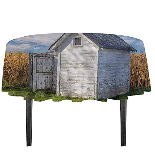 Outhouse Leakproof Polyester Tablecloth Country Farm Life Cottage with Wheat and Grass Under Sky Image Outdoor and Indoor use D35.4 Inch Marigold Green Blue and White