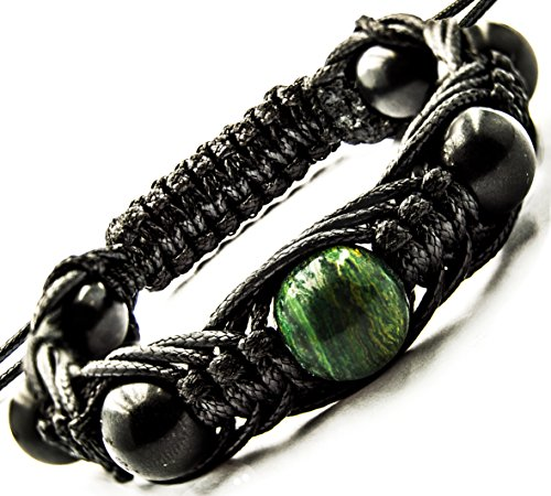 Energy Bracelet Shungite with Gemstone Beads - medium wrist sizes (Jade Africa) by Wallystone Gems