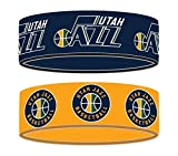 aminco NBA Utah Jazz Silicone Rubber Bracelet, 2-Pack