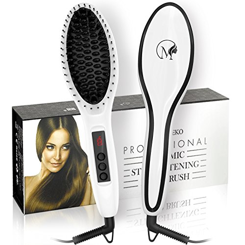 Magnifeko Hair straightening Brush Professional Comb Ceramic straighter for hair styling (white)