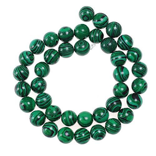 Natural Stone Beads 8mm Malachite Gemstone Round Loose Beads Crystal Energy Stone Healing Power for Jewelry Making DIY,1 Strand 15