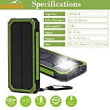 Evertrk Portable Solar Power Bank Charger - Premium Anti-Shock Portable Charger – Portable USB Charger for Outdoor Activities - Compatible with Android iOS and More – 15000mAh (Green)