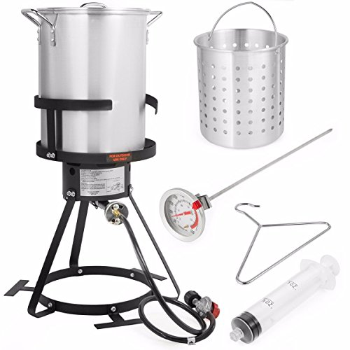 Stark Deluxe 30 QT Aluminum Turkey Deep Fryer Pot Boiling Lid and Gas Stove Burner Stand Injector Thermometer CSA 55,000 BTU ()