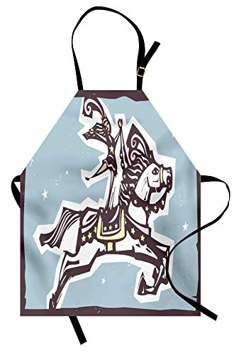Lunarable Colorful Apron, Circus Performer Riding on a