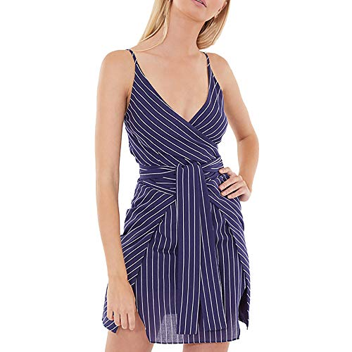 (Rakkiss Women Short Dress Striped Sexy Sleeveless Skirt Loose Mini Strap V-Neck Summer Dress Navy)