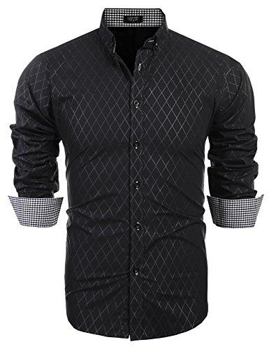 COOFANDY Men's Business Stylish Slim Fit Long Sleeve Casual Dress (Black Pattern Shirt)