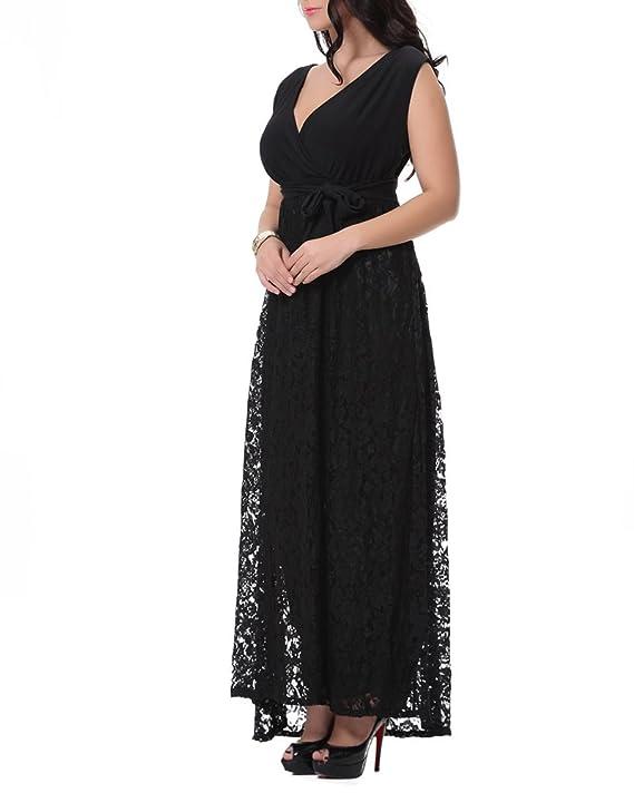 ZhuiKun Mujeres Talla Grande Vestidos Largos Sin Mangas Vestidos de Encaje Negro 7XL: Amazon.es: Ropa y accesorios