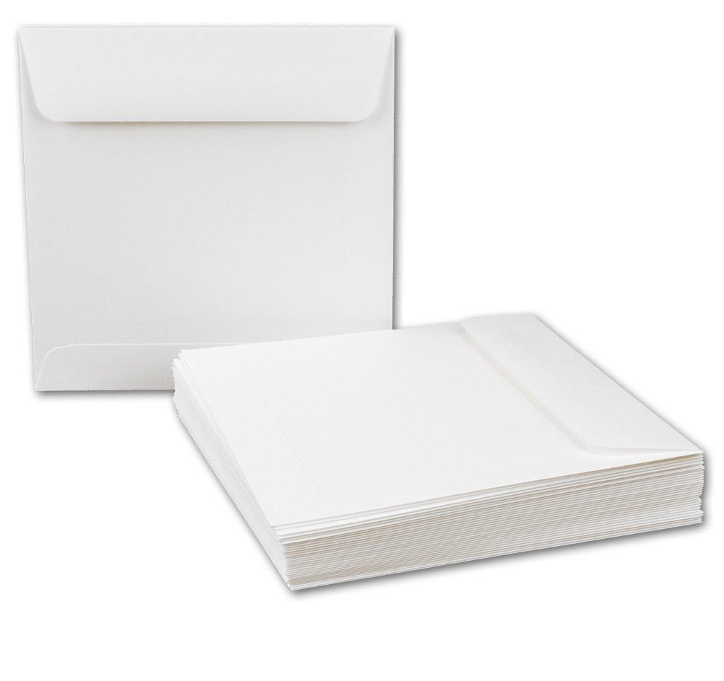 Briefumschläge Quadratisch 155 x 155 mm - Weiß | 75 Stück | EXTRA QUALITÄT - 120 g/m² | 15, 5 x 15, 5 cm - Für ganz besondere Anlässe! - Nassklebung - Qualitätsmarke: GUSTAV NEUSER