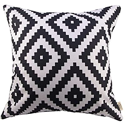 HOSL Geometry Cotton Linen Decorative Throw Pillow Cover Cushion Case Pillow About 18-Inch